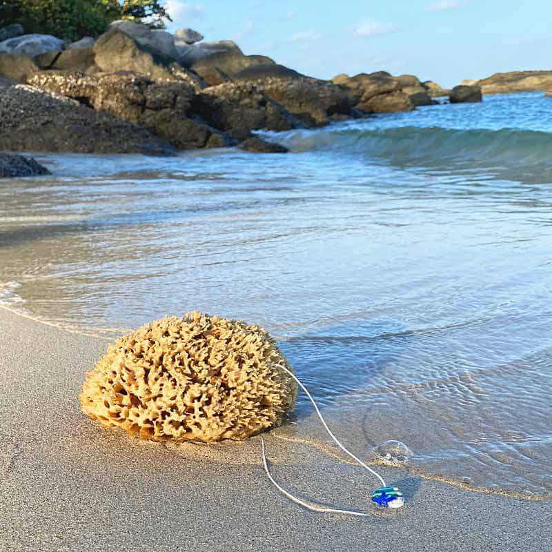Naturschwamm mit Kordel liegt am Strand